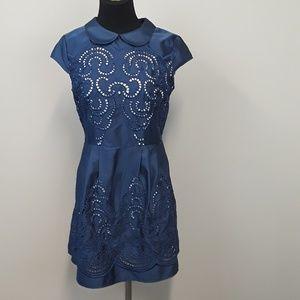 Chi Chi London Navy blue eyelet dress size 8